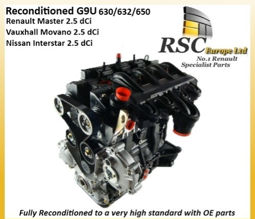 RENAULT MASTER 2.5 dCi G9U632 G9U650 RECONDITIONED ENGINE MOVANO / INTERSTAR